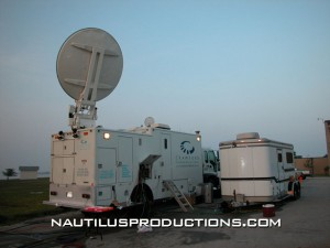 Uplink truck and operations trailer during Estuary Live '03.